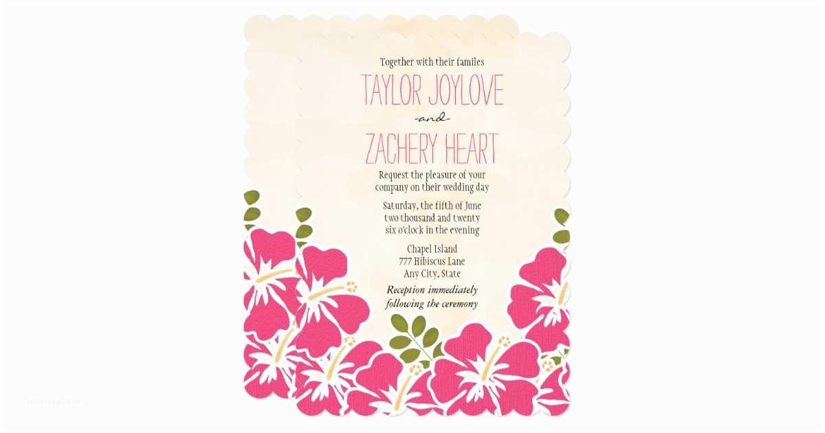 Polynesian Wedding Invitations Fuchsia Hibiscus Hawaiian Wedding Invitations
