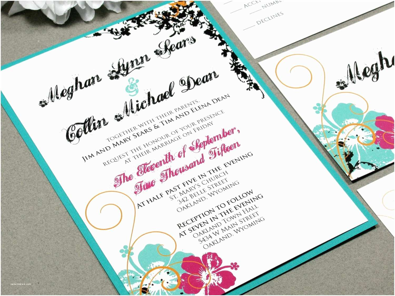 Polynesian Wedding Invitations Hawaiian Hibiscus Flower Wedding Invitation Set by Runkpock