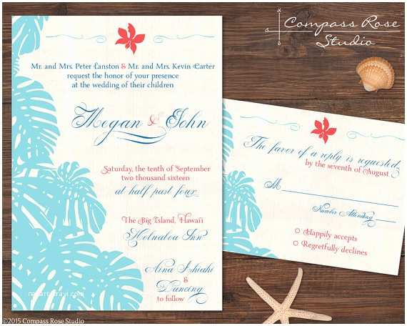Polynesian Wedding Invitations Hawaiian Wedding Invitation Suites Hawaii Wedding