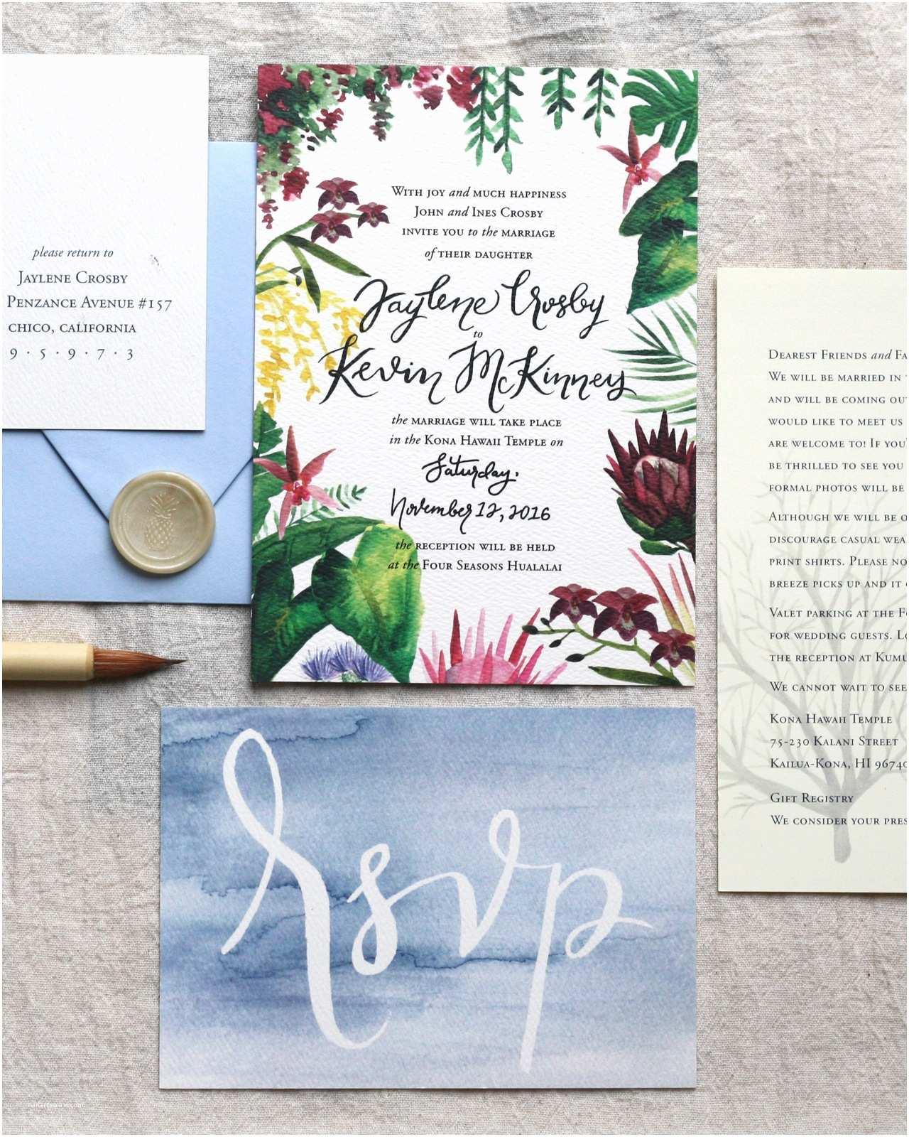 Polynesian Wedding Invitations Illustrated Tropical Hawaiian Wedding Invitations