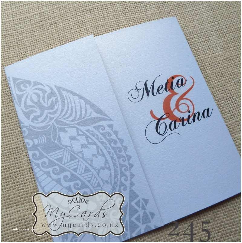 Polynesian Wedding Invitations Maori Wedding Invitation 140mm Letterfold