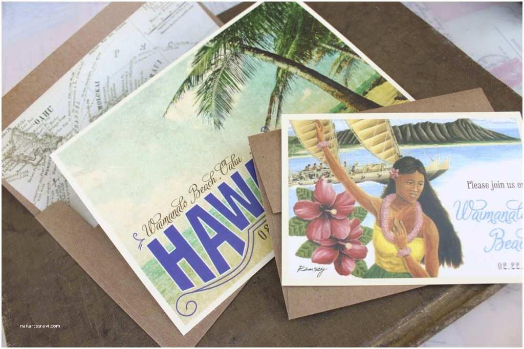 Polynesian Wedding Invitations Party Invitation Vintage Beach Hawaii Wedding Invitations