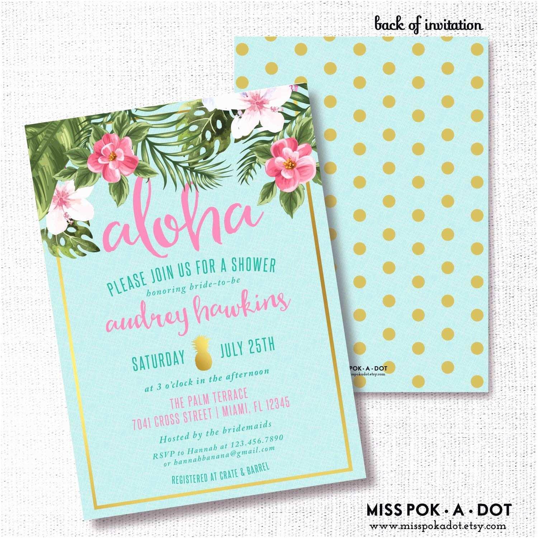 Polynesian Wedding Invitations Tropical Flower Pineapple Bridal Shower Invitation Luau
