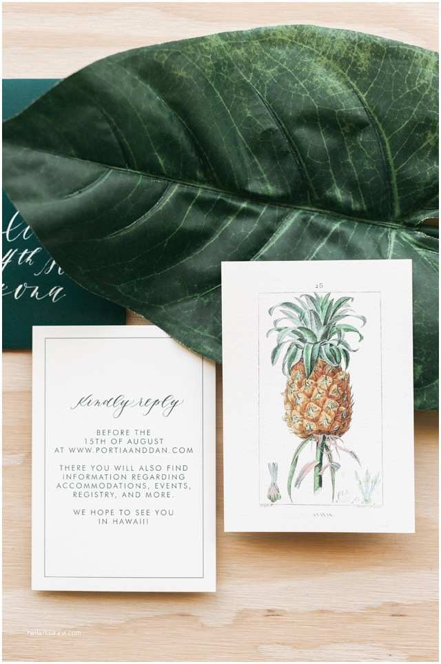 Polynesian Wedding Invitations Tropical Hawaiian Calligraphy Wedding Invitations