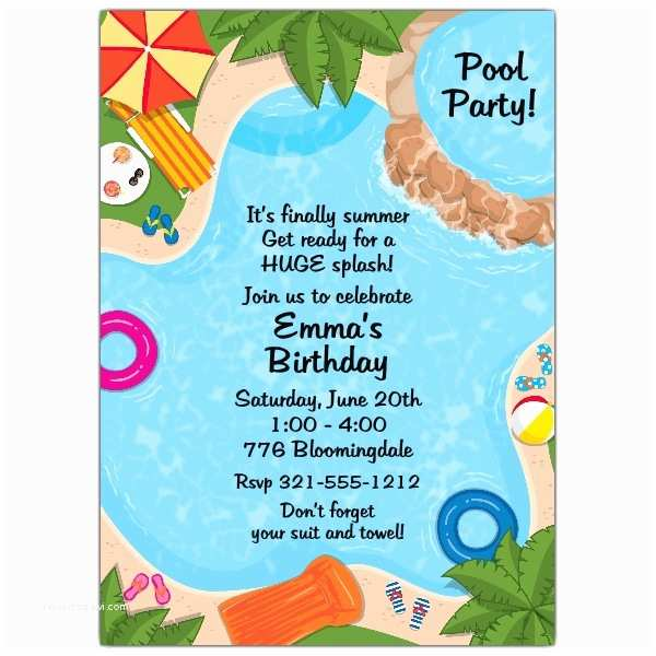 Pool Party Birthday Invitations Backyard Pool Party Invitations