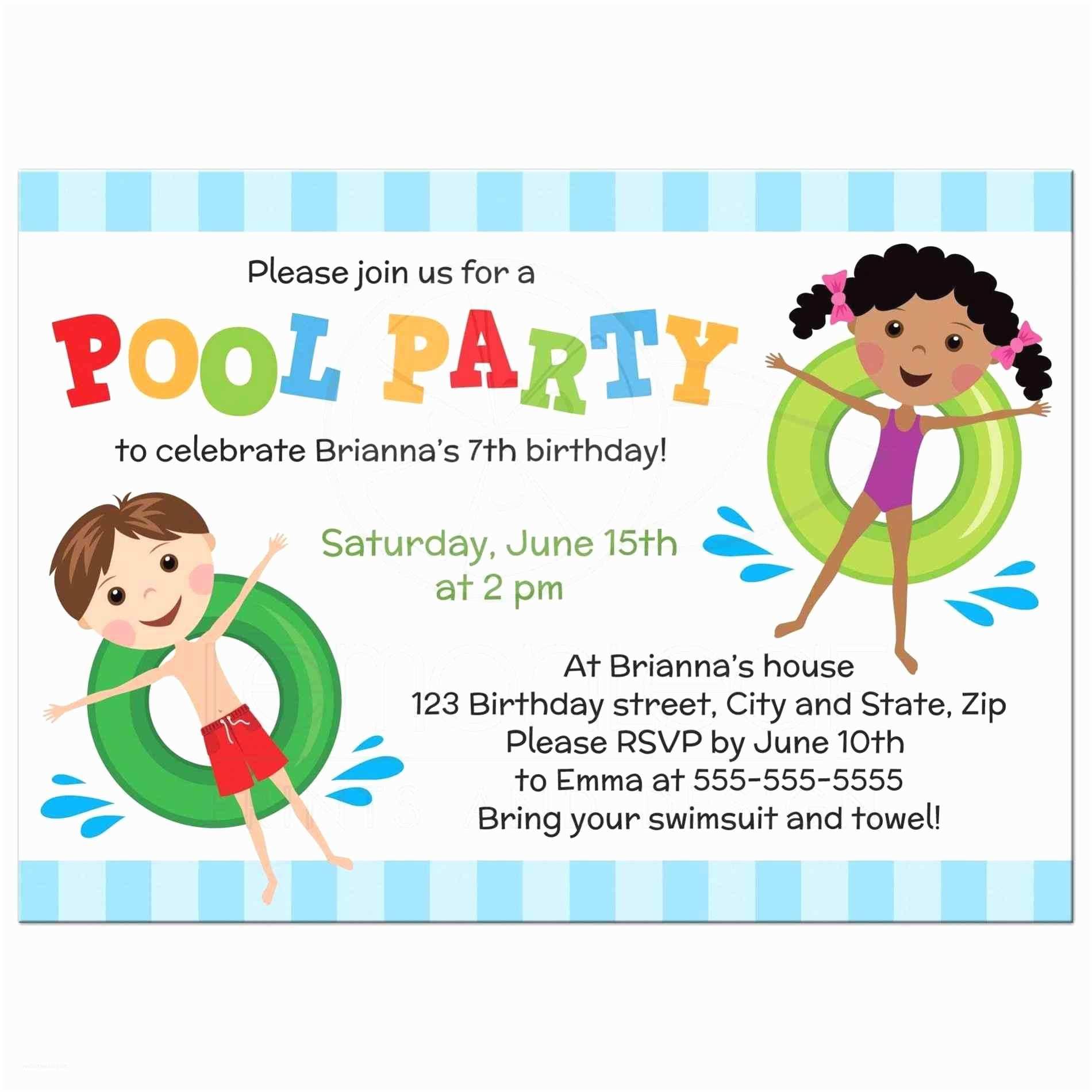 Pool Party Birthday Invitations Free 10th Boy Printable S