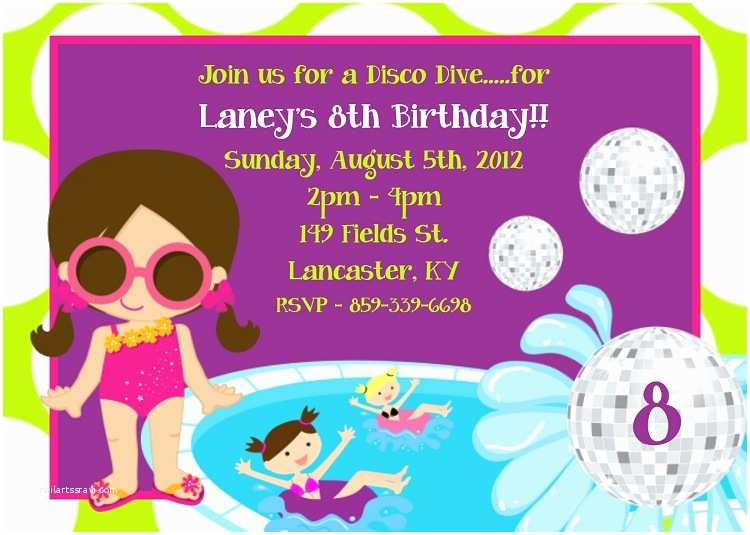 Pool Party Birthday Invitations Kids Pool Party Invitations Printable or Printed
