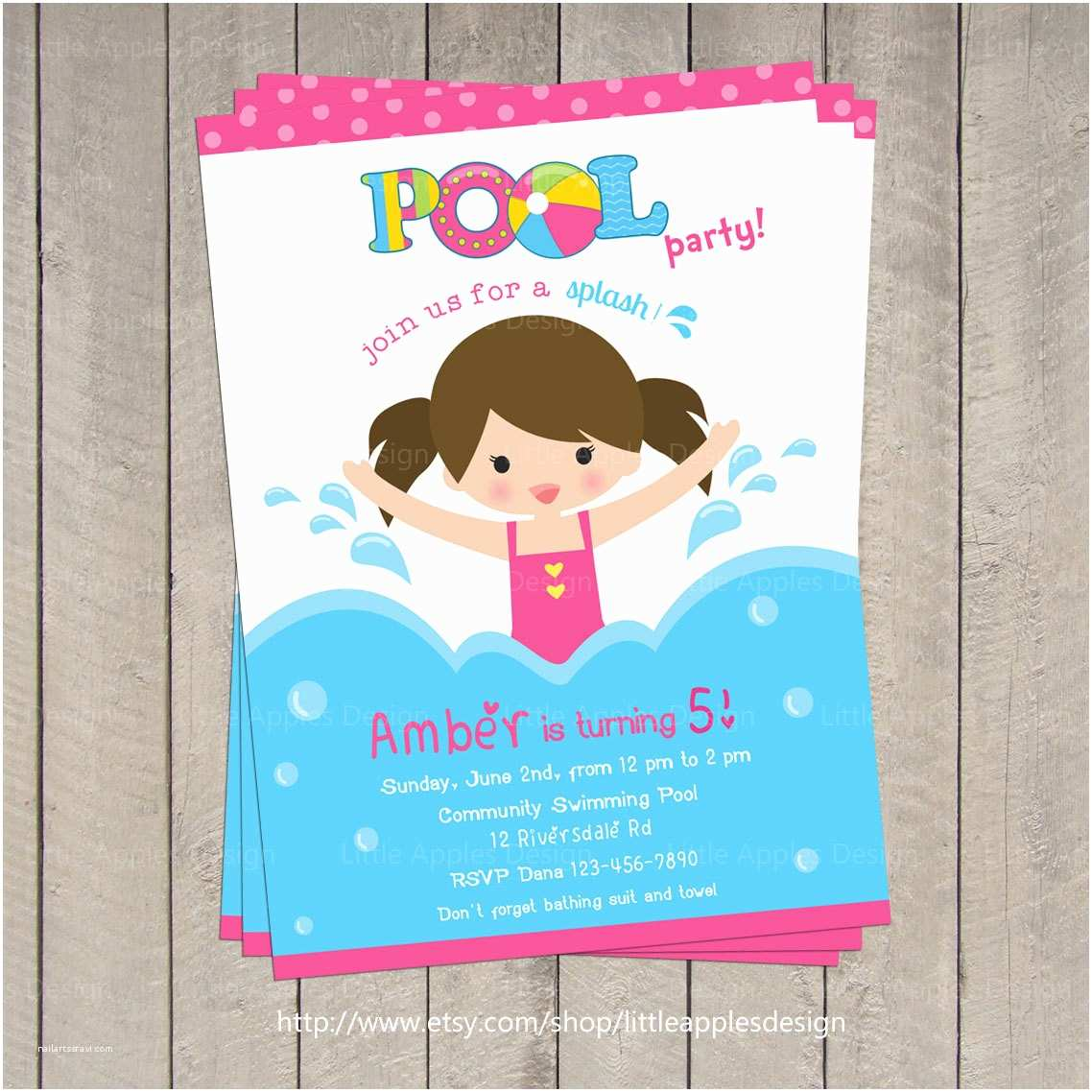 Pool Party Birthday Invitations Pool Invitation Pool Party Invitation Kids Pool Party
