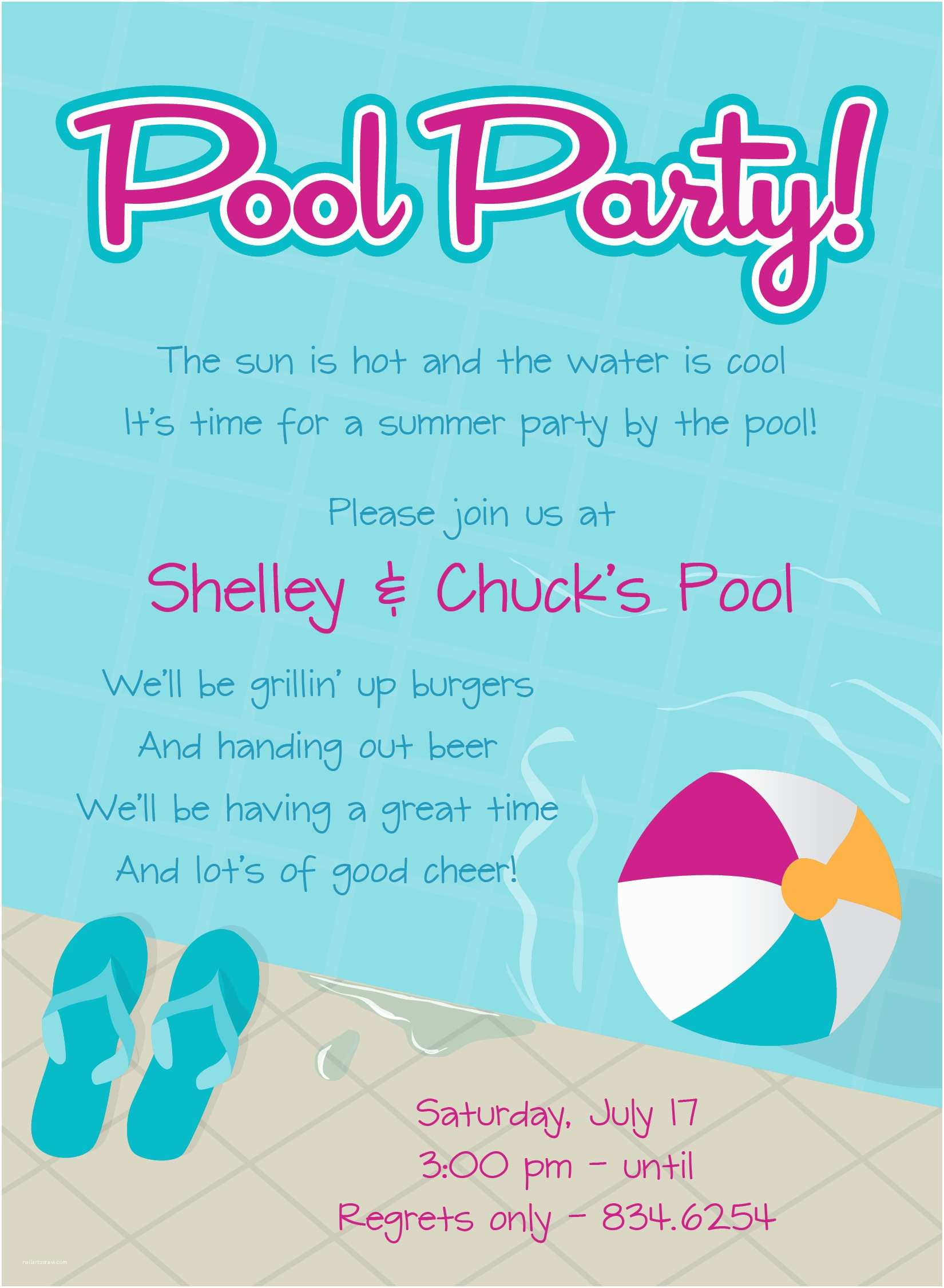 Pool Party Birthday Invitations Pool Party Invitation Wording
