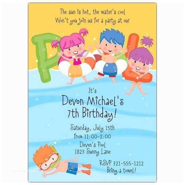 Pool Party Birthday Invitations Pool Party Kids Pool Invitations