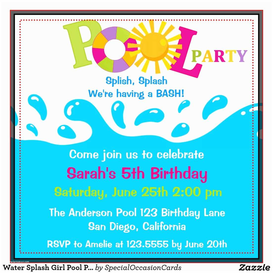Pool Party Invitation Ideas Pool Birthday Party Invitation