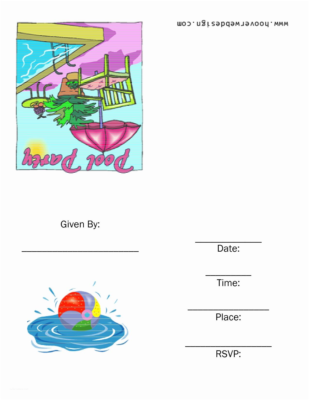 Pool Party Invitation Template Free Printable Birthday