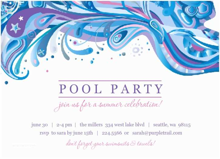 Pool Party Invitation Template Blue And Purple Swirl