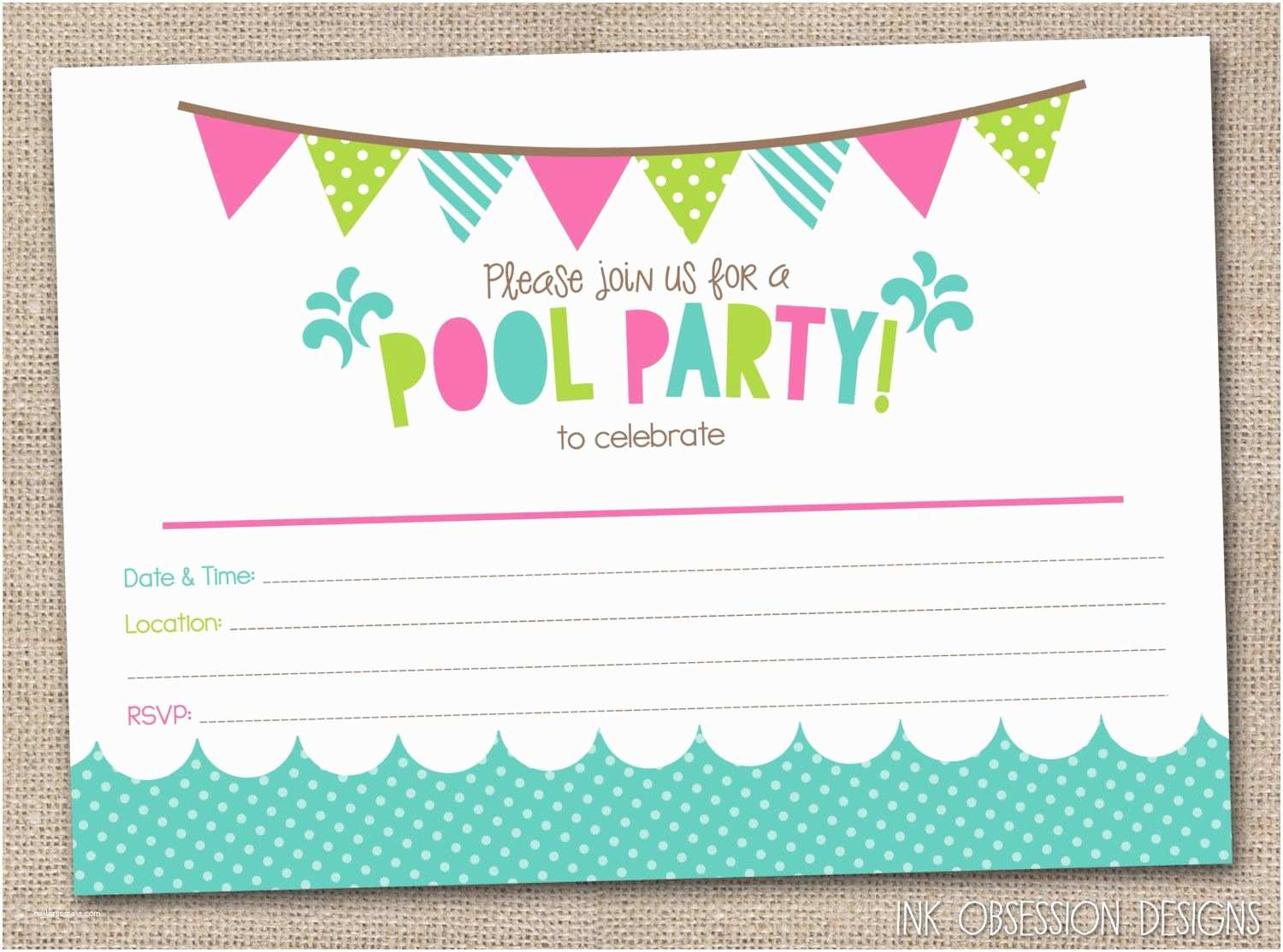 Pool Party Invitation Template Girls Pool Party Printable Invitation Fill by