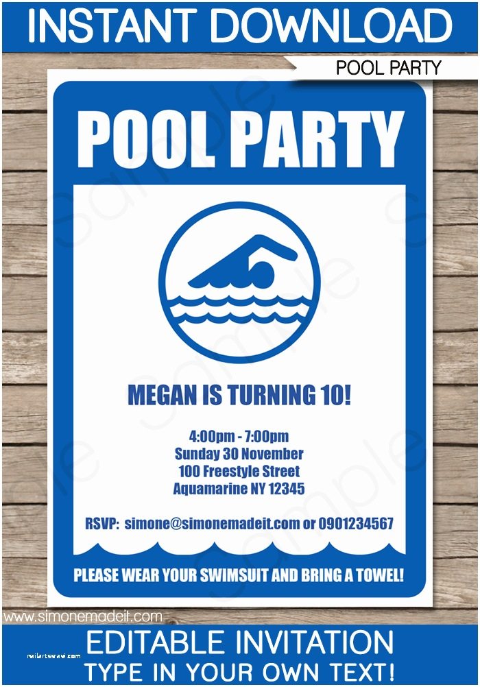 Pool Party Invitation Template Pool Party Invitations Birthday Party