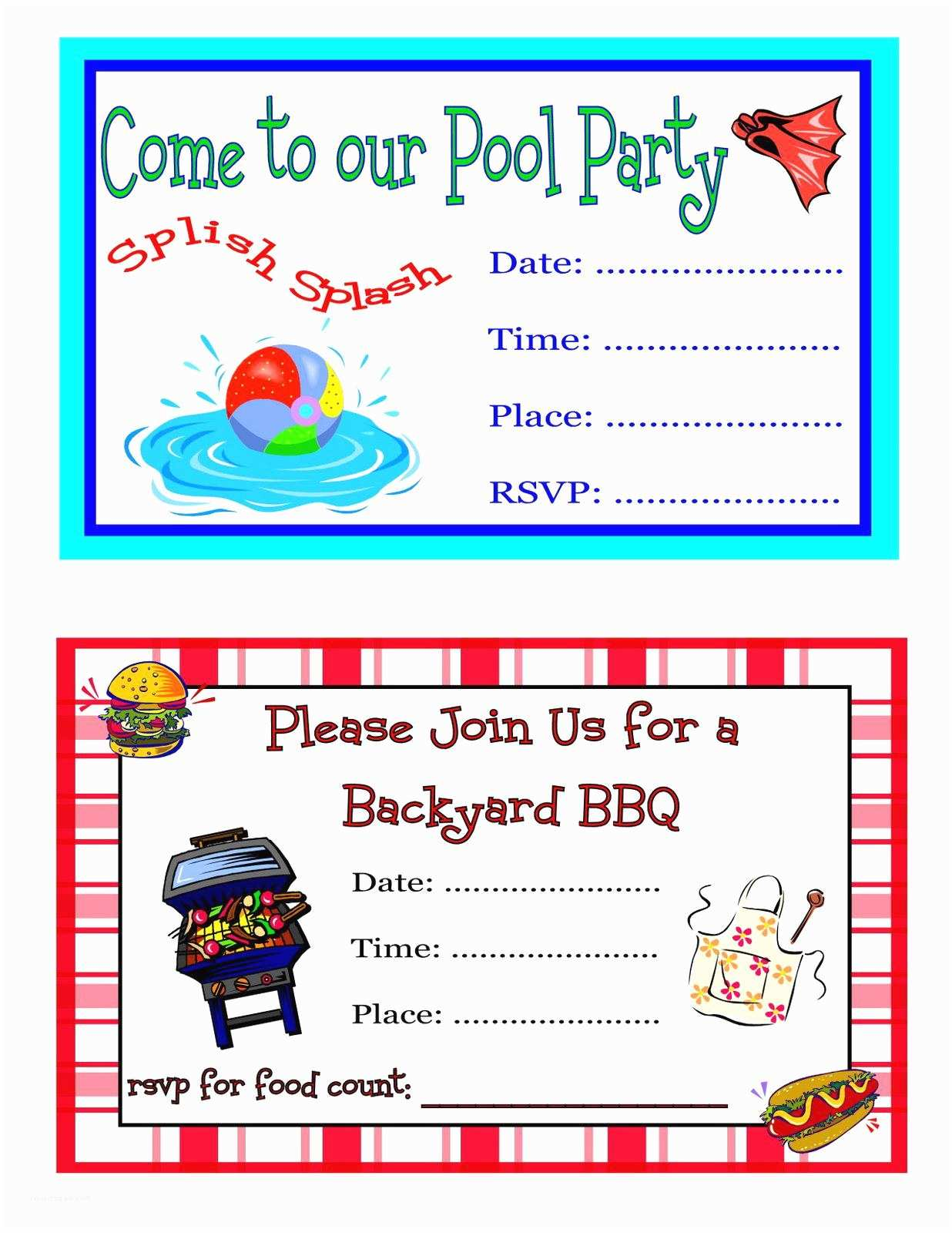 Pool Party Invitation Template Pool Party Invites Templates