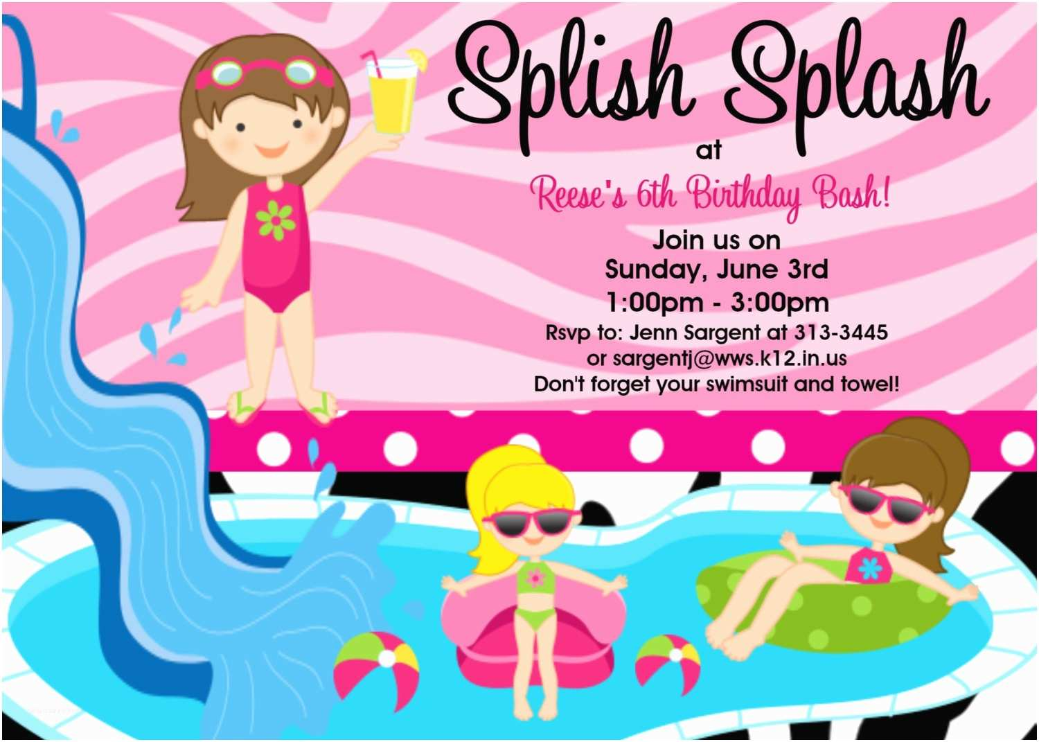 Pool Party Invitation Wording 13th Birthday Ideas Bagvania Free