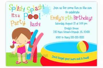Pool Party Invitation Wording Funny Beach And Card