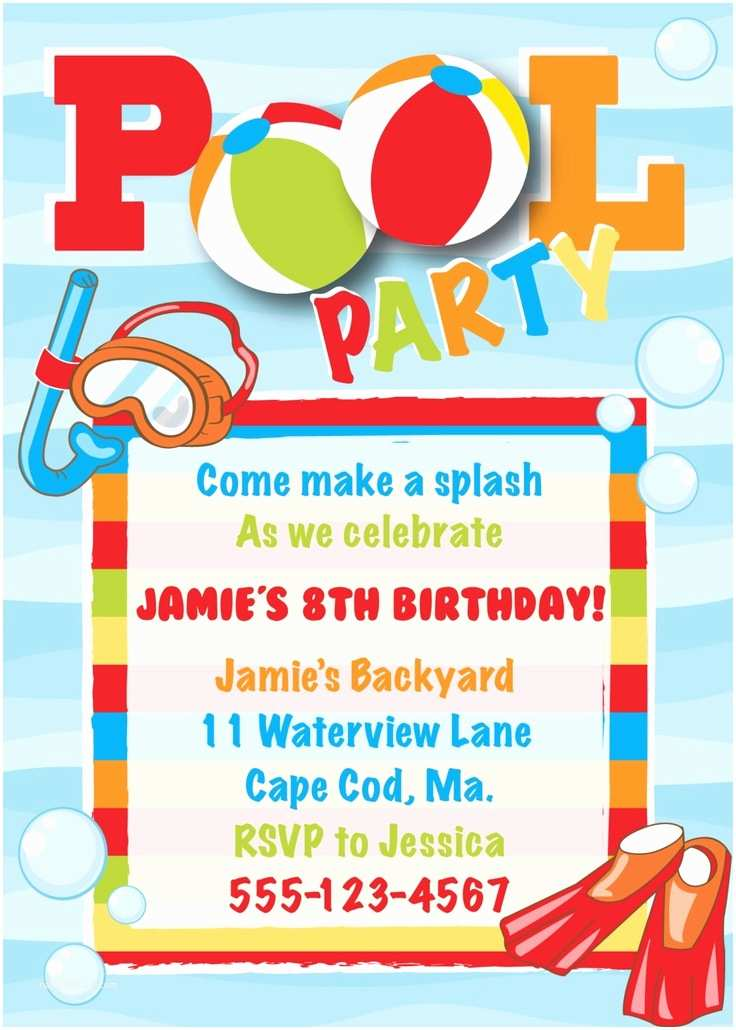Pool Party Invitation Wording Birthday Boy