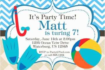 Pool Party Invitation Wording Blue Chevron And