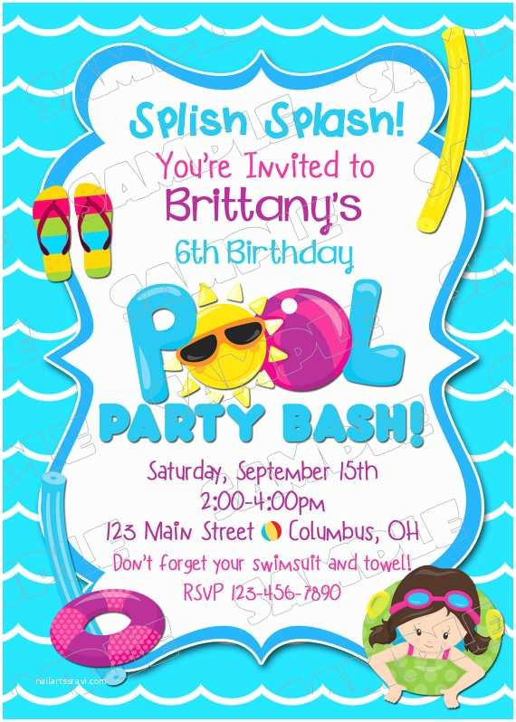 Pool Party Invitation Wording Pool Party Invitation Swim Party Swimming Birthday Party