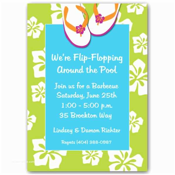 Pool Party Invitations Beach Flip Flops Pool Party Invitations