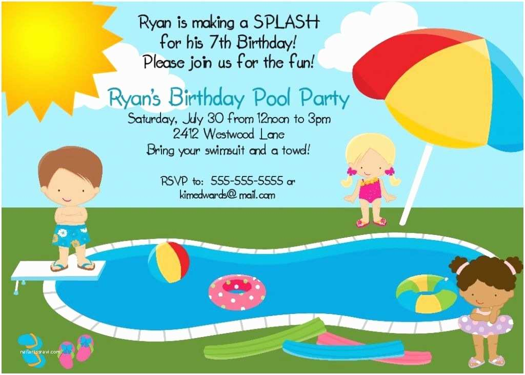 Pool Party Invitations Free Printable Pool Party Invites for Kids