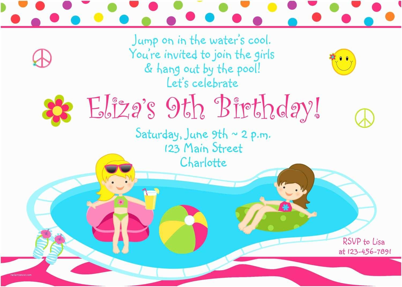 Pool Party Invitations Birthday Invitation Girls Zebra