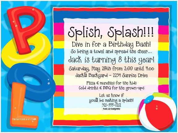 """Pool Party Invitations Quick View Piv1061 """"party at the Pool Invitations"""
