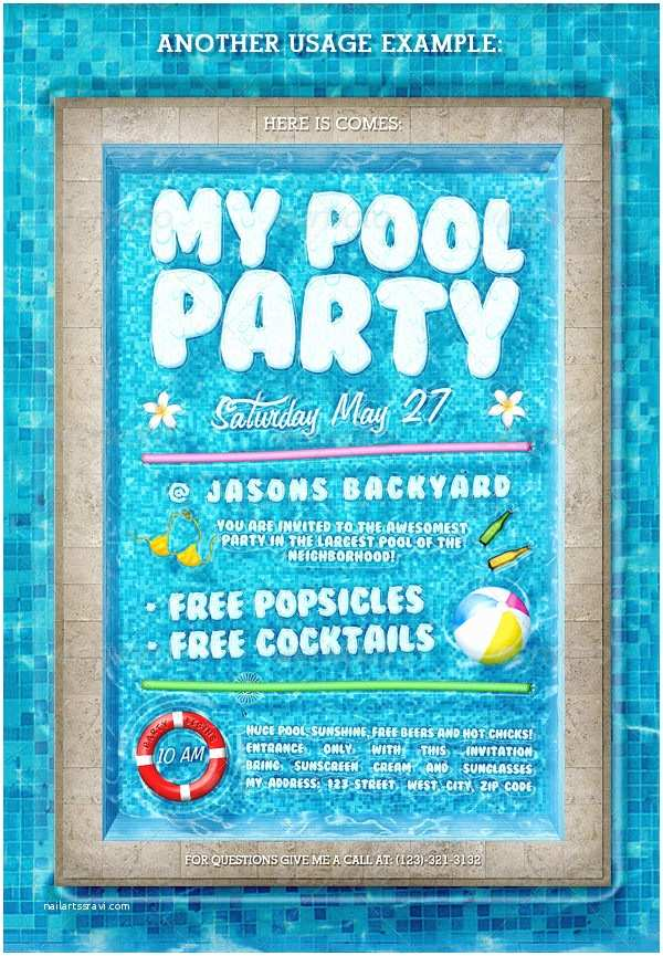 Pool Party Invitations Templates Free Free Pool Party Invitations – Gangcraft