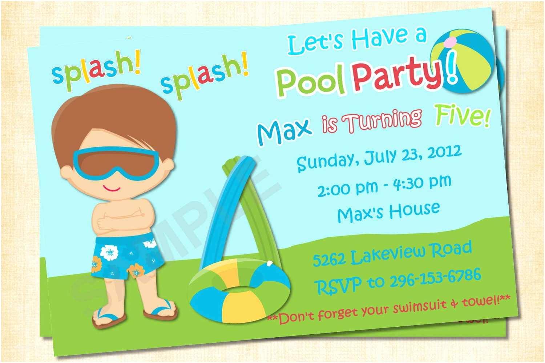 Pool Party Invitations Templates Free Free Printable Birthday Invitations for Boys