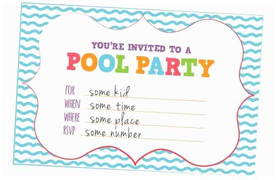 Pool Party Invitations Templates Free Fun Kids Invites