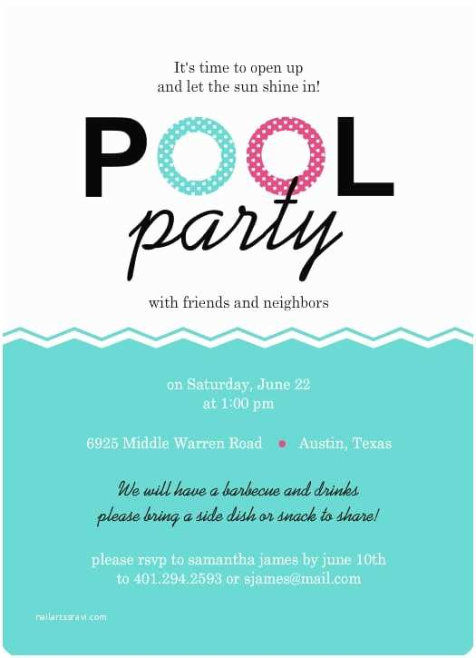 Pool Party Invitations Templates Free Invitation for Swimming Party