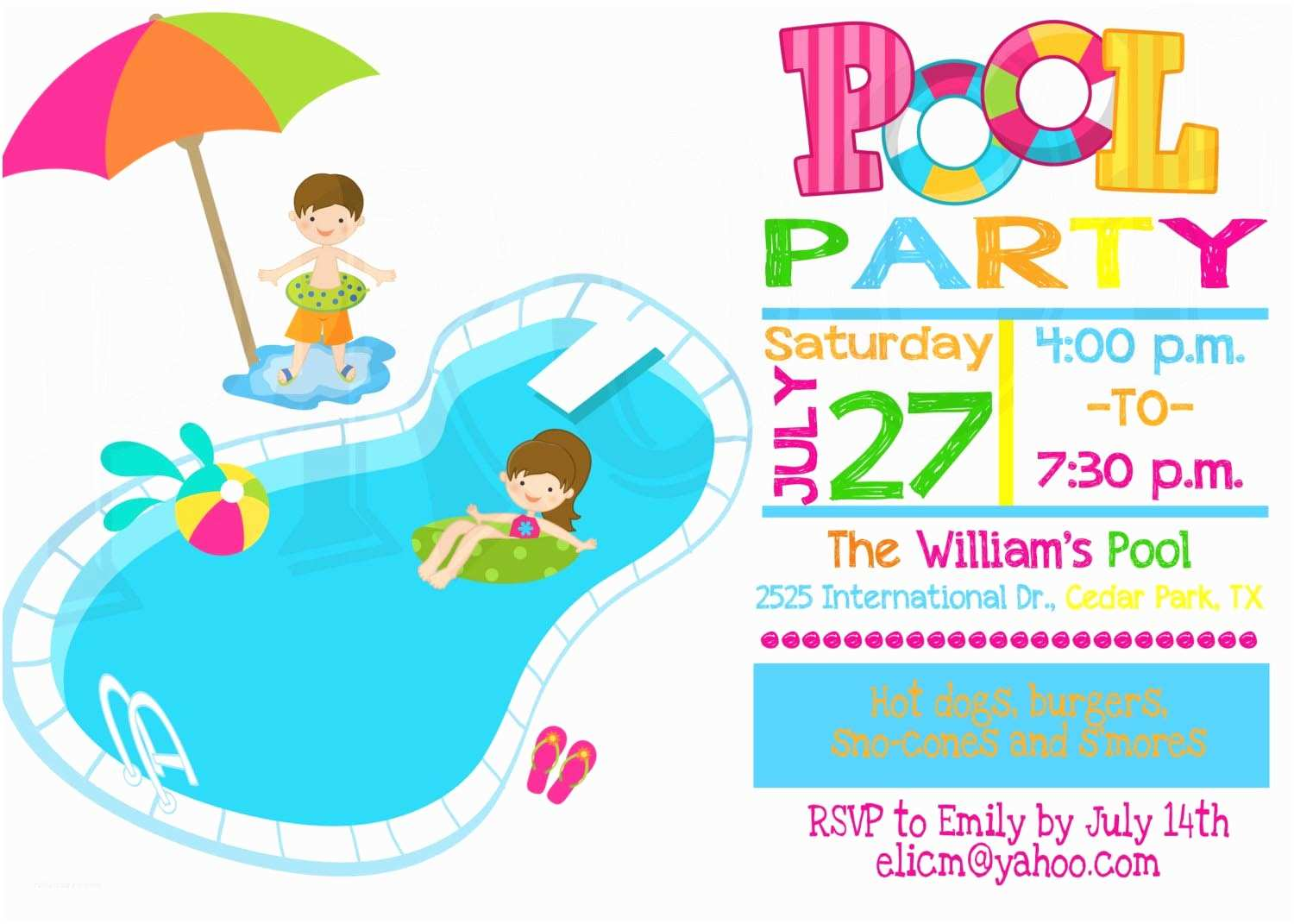 Pool Party Invitations Templates Free Kids Pool Party Invitation