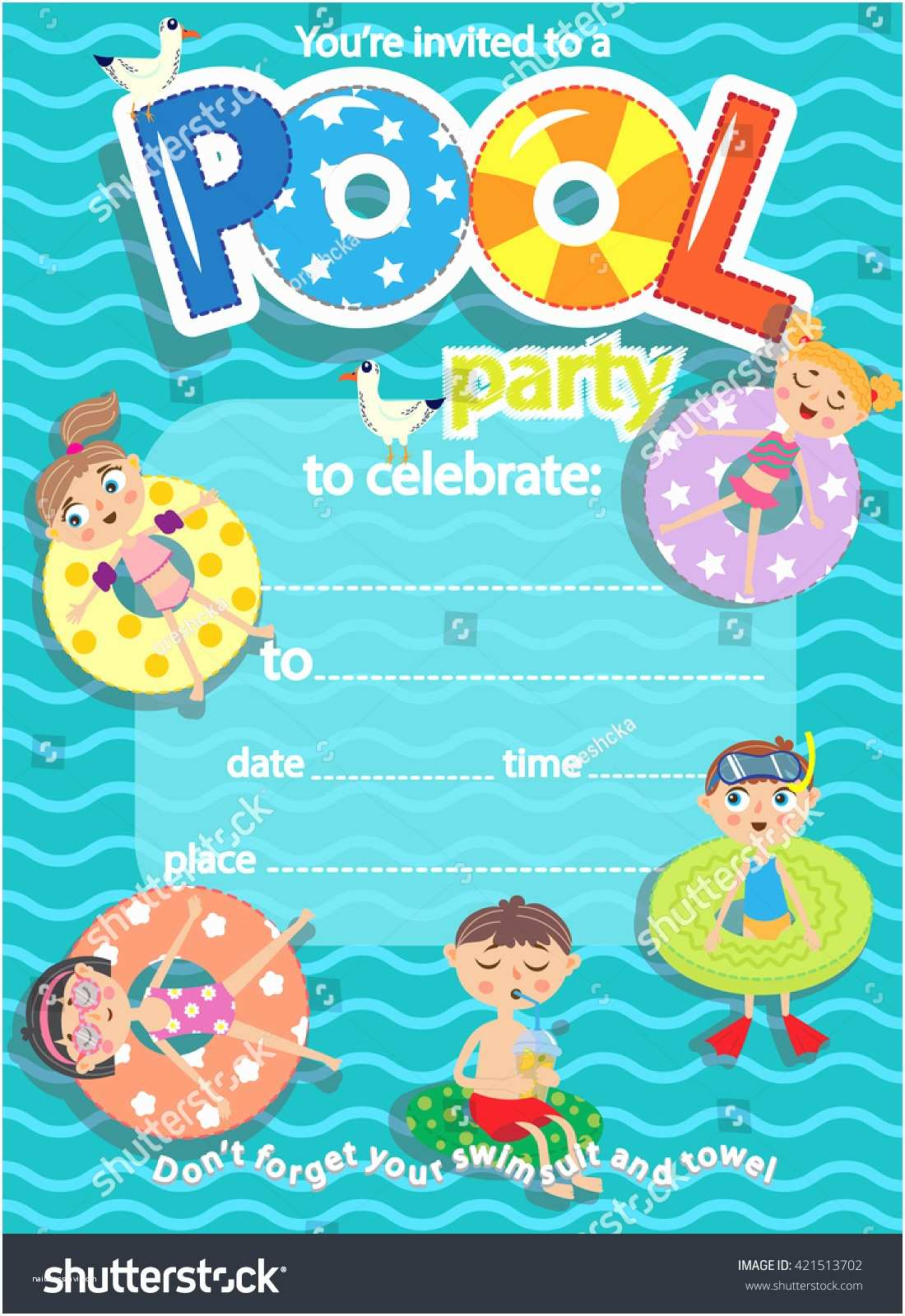 Pool Party Invitations Templates Free Pool Party Invitation Template Card Kids Stock Vector