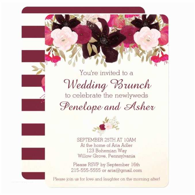 Post Wedding Breakfast Invitation Wording Bohemian Floral Post Wedding Brunch Invitation Wedding