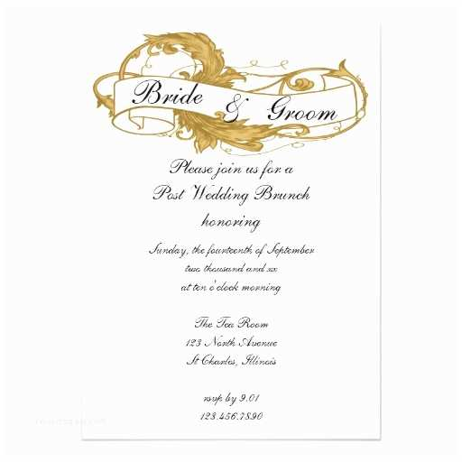"Post Wedding Breakfast Invitation Wording Gold Leaf Post Wedding Brunch Invitation 5"" X 7"