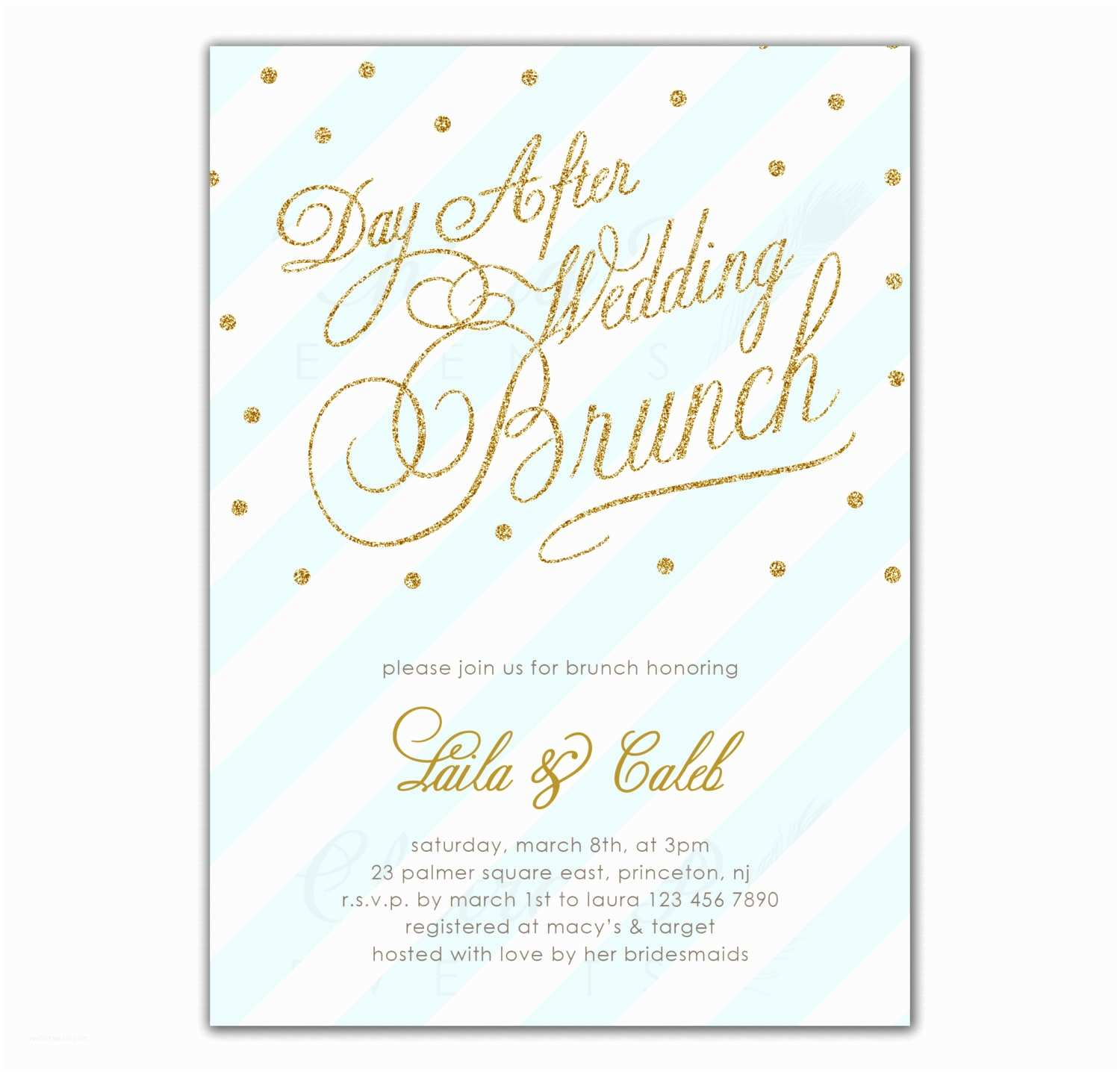 Post Wedding Breakfast Invitation Wording Post Wedding Brunch Invitation Printed or Printable by Chitrap