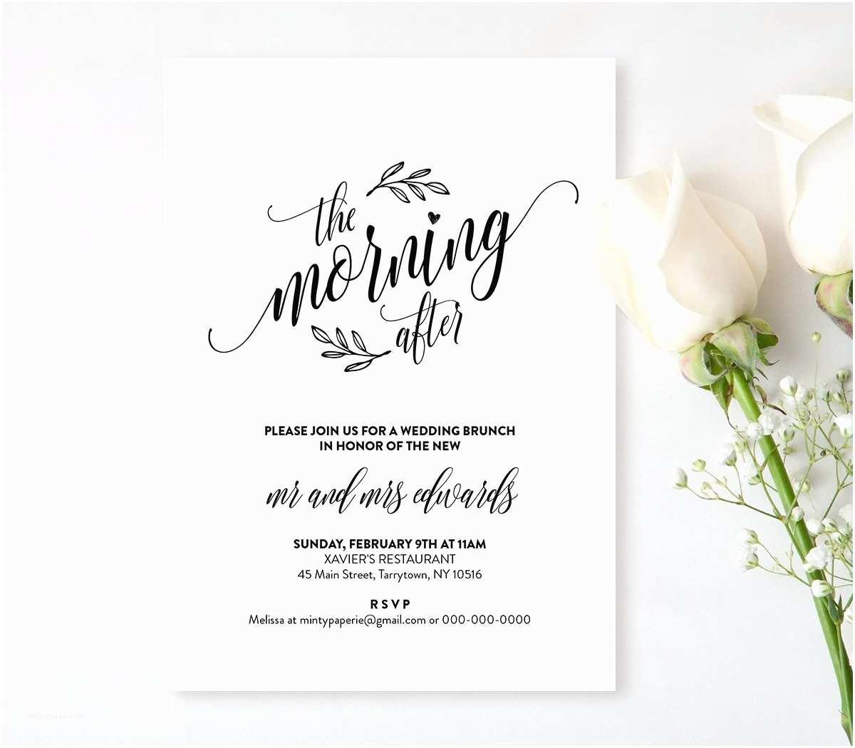 Post Wedding Brunch Invitation Wording Wedding Brunch Invitation Template Printable Post Wedding