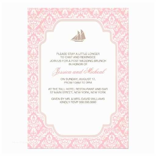 "Post Wedding Brunch Invitations Post Wedding Brunch Invitations Pink Damask 5"" X 7"