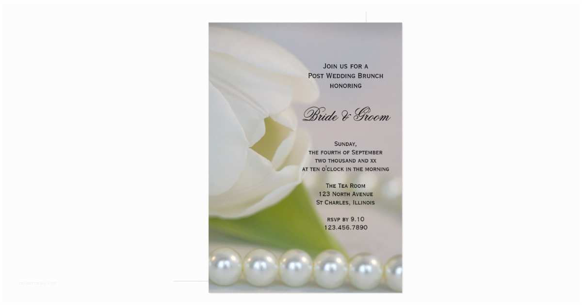 Post Wedding Brunch Invitations White Tulip Pearls Post Wedding Brunch Invitation
