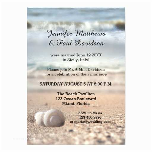 beach shells post wedding party invitation