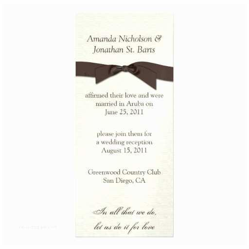 Post Wedding Celebration Invitations Cream Brown Ribbon Post Wedding Celebration Personalized