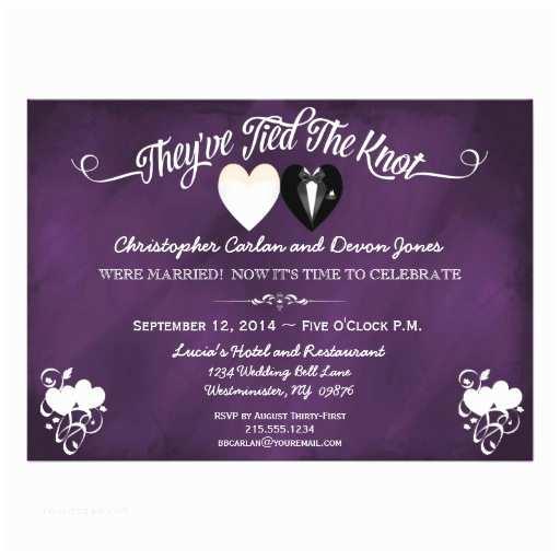 Post Wedding Celebration Invitations Post Wedding Trendy Purple Chalkboard Invitation