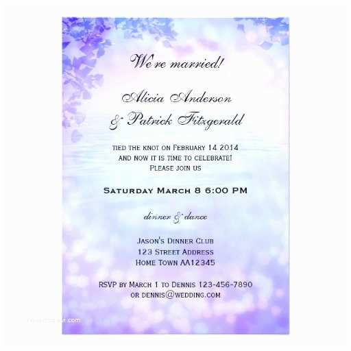 Post Wedding Celebration Invitations Purple Post Wedding Reception Party Invitation