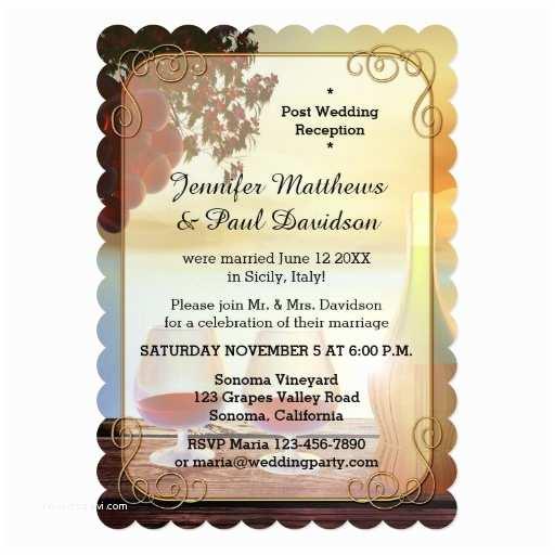 Post Wedding Celebration Invitations Vineyard or Wine Post Wedding Party Invitation