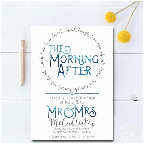 Post Wedding Invitations Post Wedding Brunch Invitation Printable the Morning after