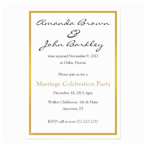 Post Wedding Invitations Post Wedding Marriage Celebration Party 5x7 Paper