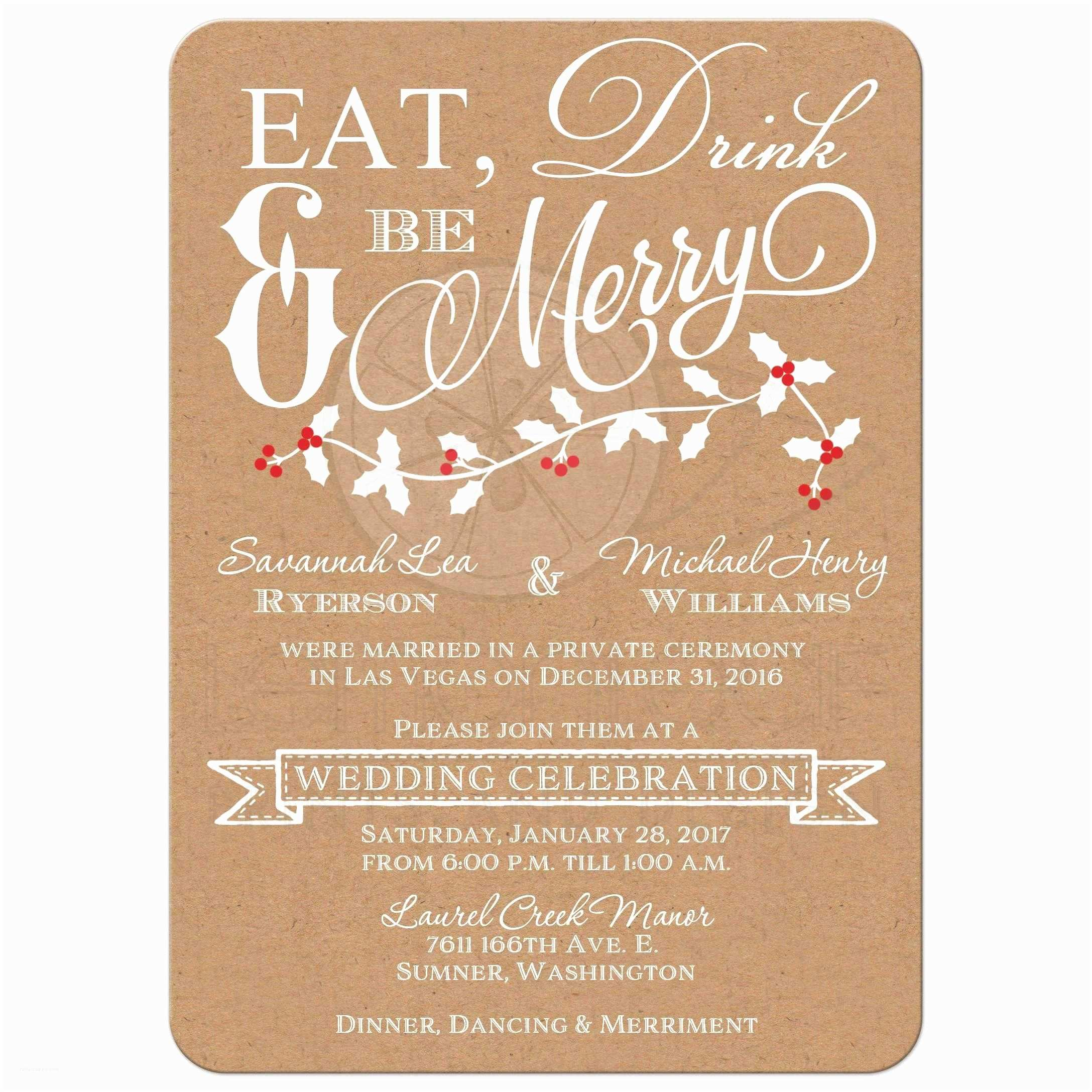 Post Wedding Invitations Winter Wedding Reception Invitation
