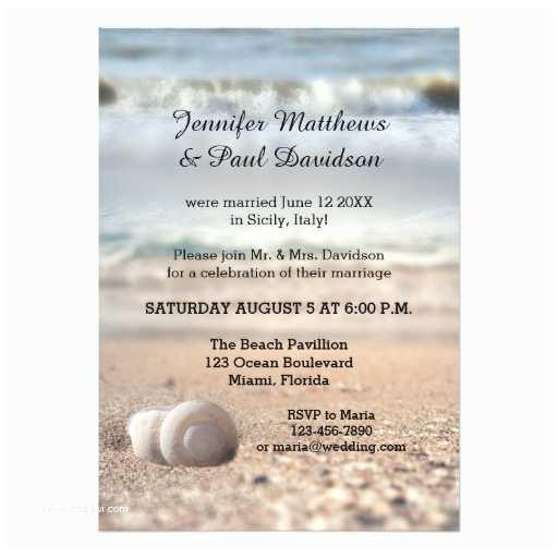 Post Wedding Party Invitations Beach Shells Post Wedding Party Invitation